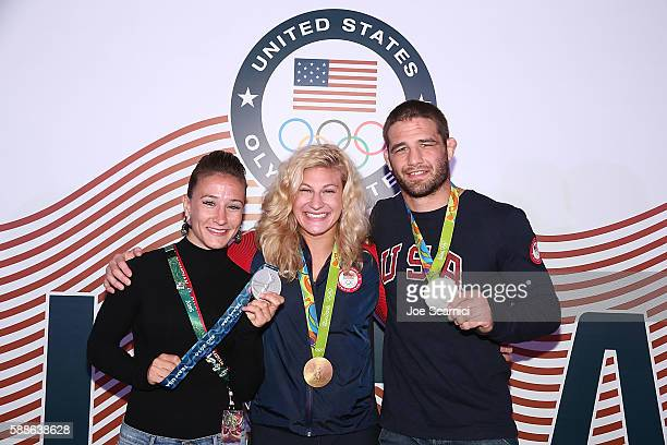 S Olympians Marti Malloy Kayla Harrison and Travis Stevens attend the USA House at the Colegio Sao Paulo on August 11 2016 in Rio de Janeiro Brazil