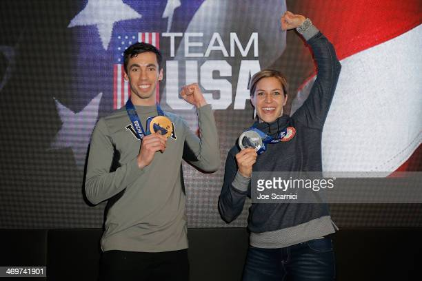 S Olympians Matthew Antoine and Noelle PikusPace visit the USA House in the Olympic Village on February 16 2014 in Sochi Russia