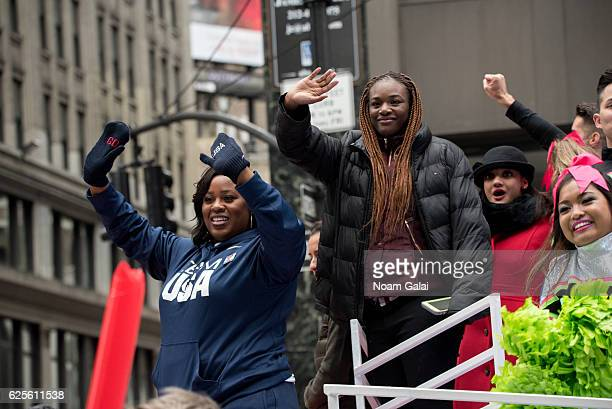 Olympians Michelle Carter Claressa Shields and Laurie Hernandez attend the 90th Annual Macy's Thanksgiving Day Parade on November 24 2016 in New York...