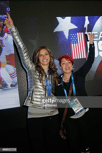 S Olympians Noelle PikusPace and Katie Uhlaender visit the USA House in the Olympic Village on February 15 2014 in Sochi Russia