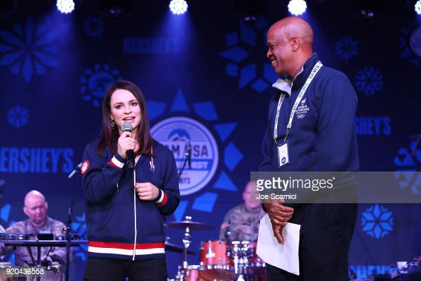 S Olympians Sasha Cohen and Willie Banks speak onstage during the Team USA WinterFest Presented by Hershey's on February 19 2018 in Seoul South Korea