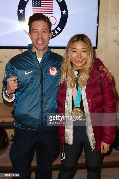 S Olympians Shaun White and Chloe Kim attend the USA House at the PyeongChang 2018 Winter Olympic Games on February 14 2018 in Pyeongchanggun South...