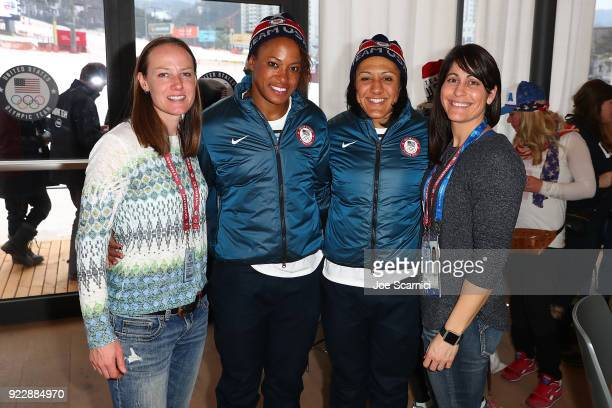 US Olympians Shauna Rohbock Lauren Gibbs Elana Meyers Taylor and Valerie Fleming pose for a photo at the USA House at the PyeongChang 2018 Winter...