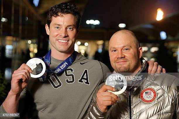 S Olympians Steven Langton and Steven Holcomb visit the USA House in the Olympic Village on February 18 2014 in Sochi Russia