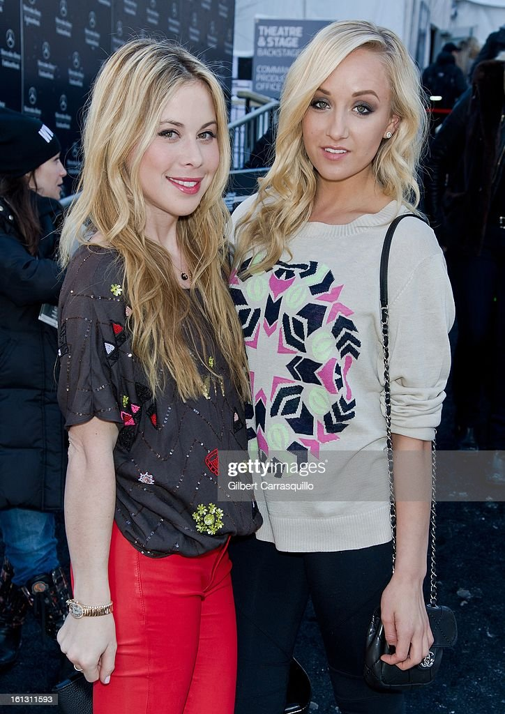 Olympians Tara Lipinski and Nastia Liukin attend Fall 2013 Mercedes-Benz Fashion Show at The Theater at Lincoln Center on February 9, 2013 in New York City.