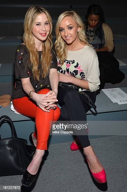 Olympians Tara Lipinski and Nastia Liukin attends the Mara Hoffman Fall 2013 fashion show during MercedesBenz Fashion Week at The Stage at Lincoln...