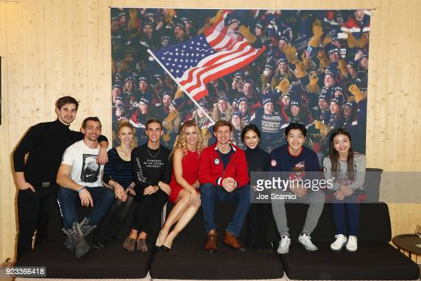 Olympians Zach Donohue, Chris Knierim, Alexa Scimeca-Knierim, Adam Rippon, Madison Hubbell, Evan Bates, Madison Chock, Alex Shibutani and Maia...