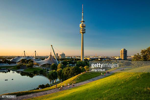 Olympiapark and Olympiaturm at sunset