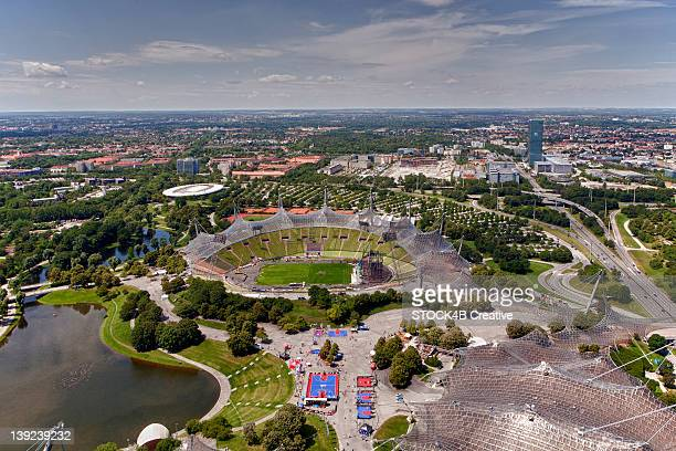 olympiapark munich, bavaria, germany - olympiastadion munich stock pictures, royalty-free photos & images