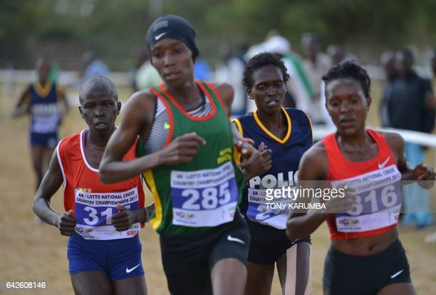 Olympic 1500m championFaith Chepng'etich races against compatriots Alice Aprot race winner Irene Cheptai and Lilian Kasait during the senior women's...
