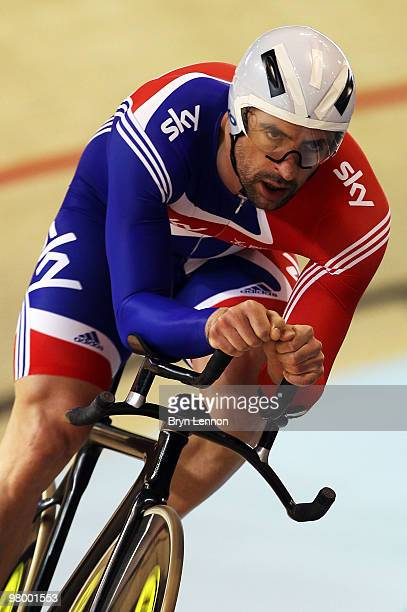 Olympic 1km Time Trial Champion Jason Queally trains with the GB Pursuit Team for the UCI Track Cycling World Championships at the Ballerup Super...