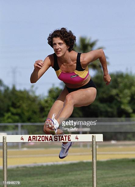 Olympic 400 metres hurdles gold medallist Sally Gunnell during a training run on 1st April 1991 at Arizona State University in Phoenix Arizona United...