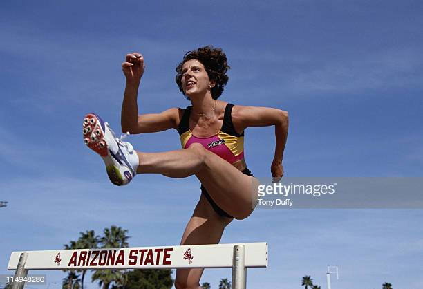 Olympic 400m hurdles gold medallist Sally Gunnell during a training run on 1st April 1991 at Arizona State University in Phoenix Arizona United States