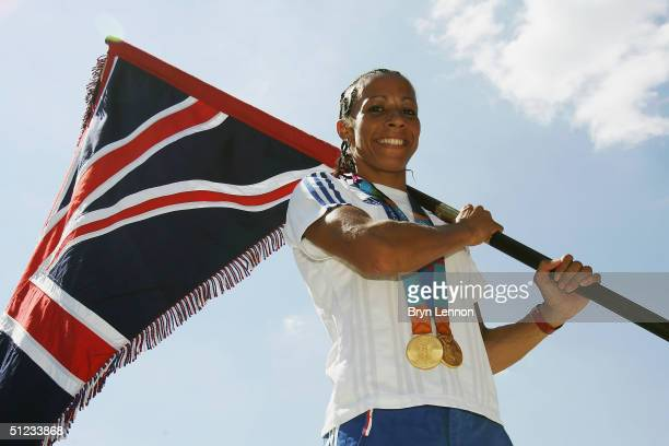 Olympic 800m and 1500m Champion Kelly Holmes of Great Britain who will carry the British flag at the Athens 2004 closing ceremony is pictured with...