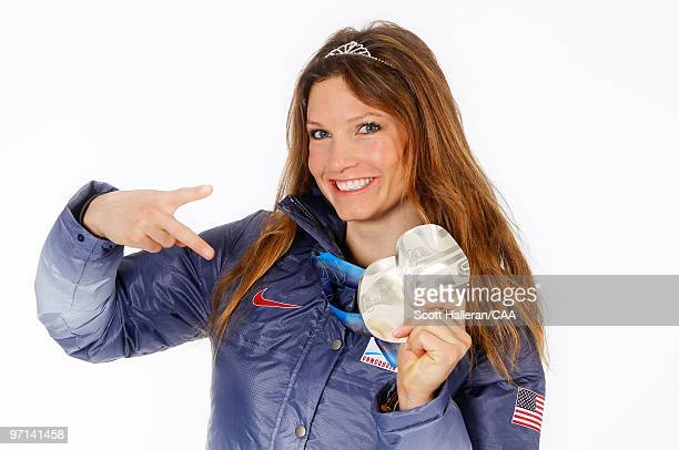 Olympic Alpine Skier Julia Mancuso of the United States with her two silver medals won in the ladies downhill and super combined events at the 2010...