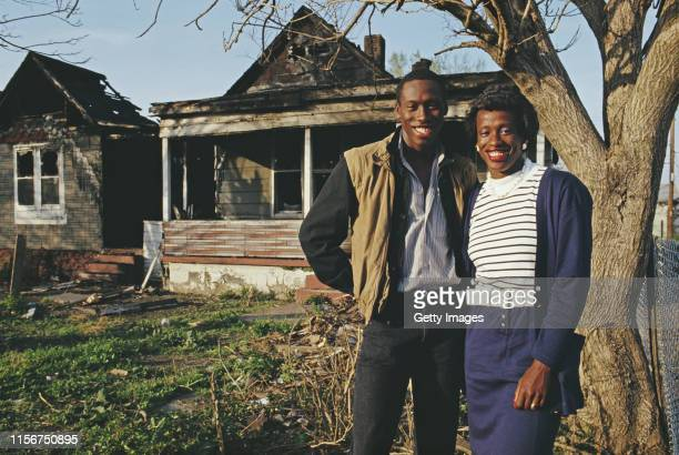 Olympic and World Heptathlon and Long Jump Champion Jackie Joyner-Kersee of the United States posing for a portrait with her 1984 Olympic Triple Jump...