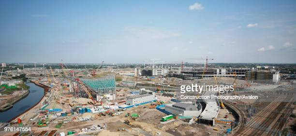 Olympic Aquatics Centre under construction, Stratford, London, UK, August 2009, looking North-West.