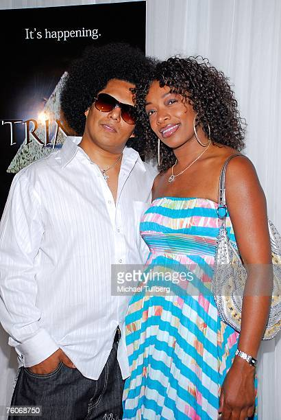 Olympic artist Jesse Raudales and guest arrive at the screening of the new television series 'Trinity' at the Level 3 nightclub on August 12 2007 in...
