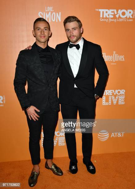 US Olympic athelets Adam Rippon and Gus Kenworthy attend The Trevor Project's TrevorLIVE New York at Cipriani Wall Street on June 11 2018 in New York...