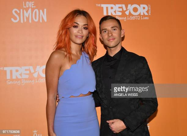 US Olympic athelets Adam Rippon and KosovarBritish singer Rita Ora attend The Trevor Project's TrevorLIVE New York at Cipriani Wall Street on June 11...