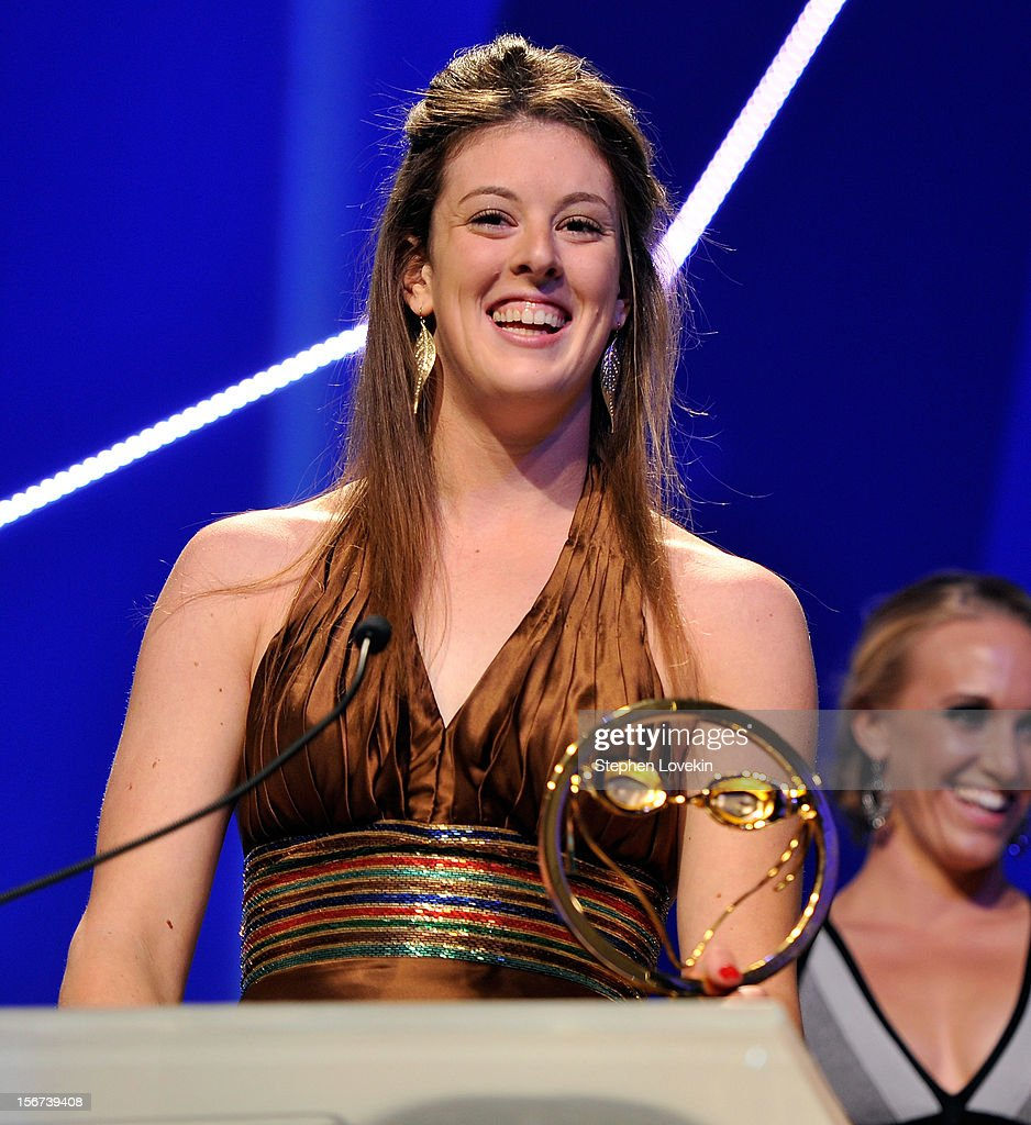 Olympic athlete Allison Schmitt attends the 2012 Golden Goggle awards at the Marriott Marquis Times Square on November 19, 2012 in New York City.