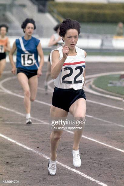 Olympic athlete Ann Packer of Great Britain in action during the Women's Amateur Athletics Association Championships at White City Stadium on 4th...
