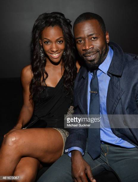 Olympic athlete DeeDee Trotter and actor Demetrius Grosse attends Golden Globes Weekend Audi Celebration at Cecconi's on January 9 2014 in Beverly...