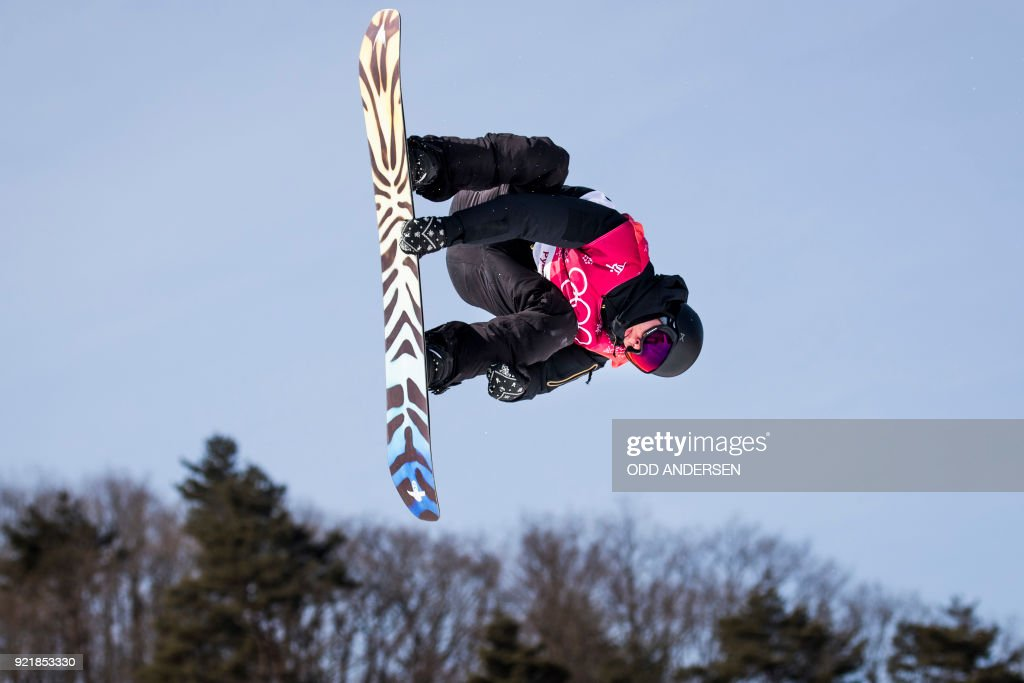 Olympic Athlete from Russia Anton Mamaev competes during the qualification of the men's snowboard big air event at the Alpensia Ski Jumping Centre during the Pyeongchang 2018 Winter Olympic Games i...