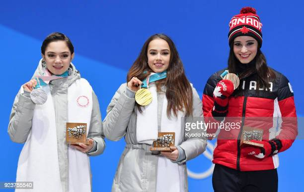 Olympic Athlete from Russia figure skater Alina Zagitova poses with her gold medal at the Pyeongchang Winter Olympics in South Korea on Feb 23...