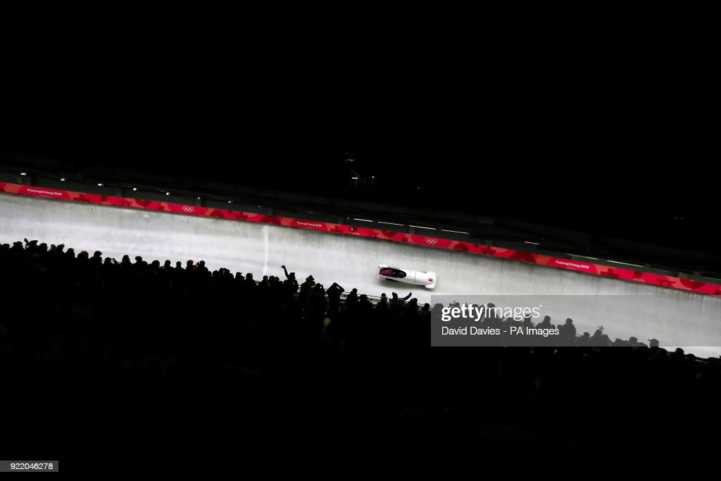 Olympic Athlete from Russia's Nadezhda Sergeeva (pilot) and Anastasia Kocherzhova compete in the Two Woman Bobsleigh Heat 3 at the Olympic Sliding Centre during day twelve of the PyeongChang 2018 Winter Olympic Games in South Korea.