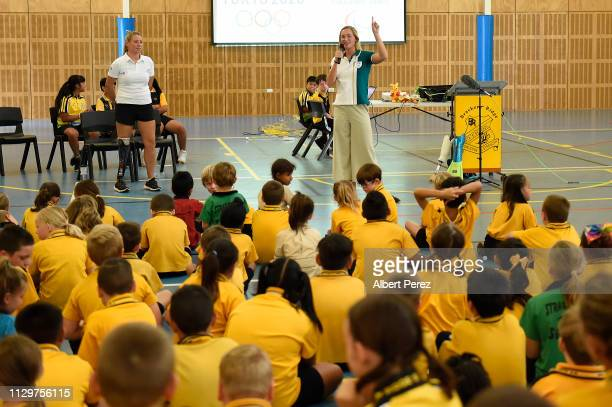 Olympic athlete Maddie Groves speaks to students during a visit to Bracken Ridge Primary School on February 15 2019 in Brisbane Australia