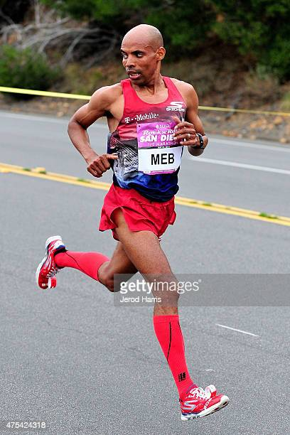 Olympic athlete Meb Keflezighi participates in the Suja Rock 'n' Roll San Diego Marathon 1/2 Marathon on May 31 2015 in San Diego California