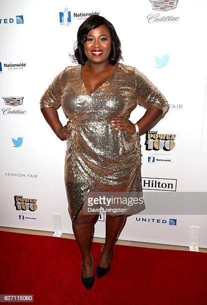 Olympic athlete Michelle Carter arrives at the 2016 Ebony Power 100 Gala at The Beverly Hilton Hotel on December 1 2016 in Beverly Hills California