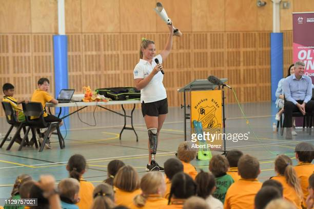 Olympic athlete Monique Murphy speaks to students during a visit to Bracken Ridge Primary School on February 15 2019 in Brisbane Australia