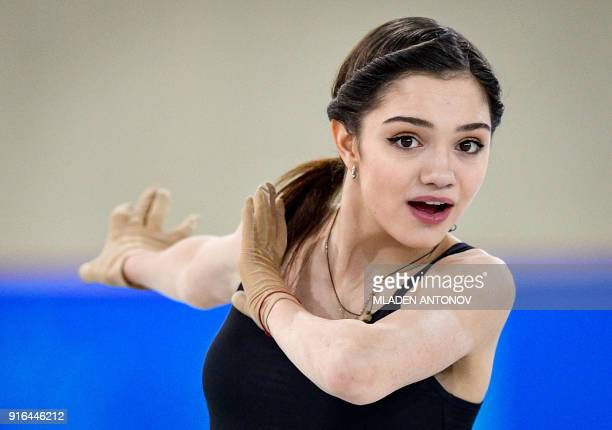 TOPSHOT Olympic athlete of Russia Evgenia Medvedeva practices at Gangneung Ice Arena ahead of the team event of the women's figure skating at the...