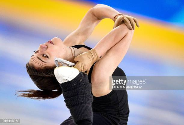 Olympic athlete of Russia Evgenia Medvedeva practices at Gangneung Ice Arena ahead of the team event of the women's figure skating at the Pyeongchang...