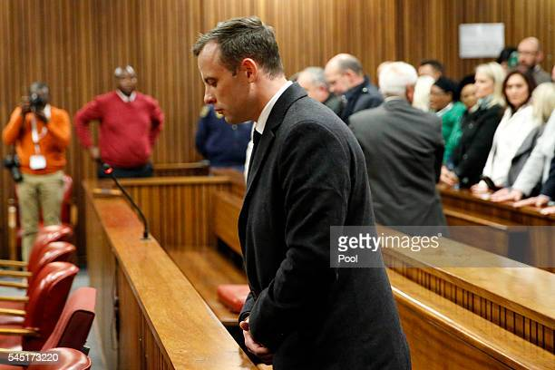 Olympic athlete Oscar Pistorius reacts after sentencing at the High Court on July 6 2016 at the High Court in Pretoria South Africa Pistorius was...