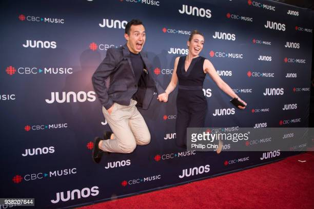 Olympic athlete Patrick Chan and Tess Johnson attend the red carpet arrivals at the 2018 Juno Awards at Rogers Arena on March 25 2018 in Vancouver...