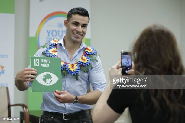 Olympic athlete Pita Taufatofua participates in a dialogue on the theme 'Missing Peace the Role of Youth in Conflict Prevention and Sustaining Peace'...