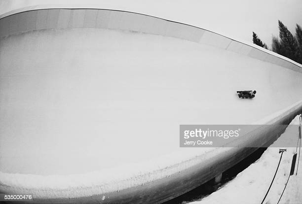 Olympic Athlete Practicing for the Luge