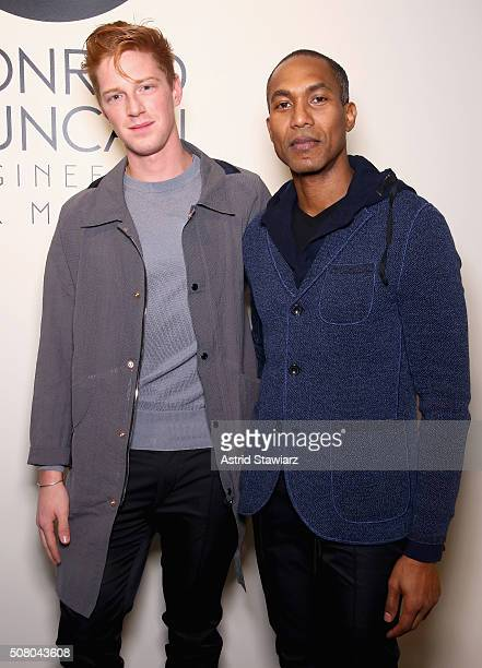 Olympic athlete Race Imboden and Designer Donrad Duncan attends the EFM Autumn/Winter 2016 Men's Presentation at Skylight at Clarkson Sq on February...