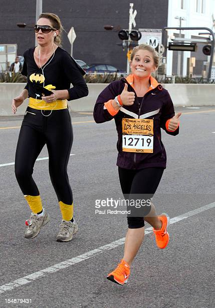 Olympic athlete Shawn Johnson runs the Rock 'n' Roll Los Angeles Halloween 1/2 Marathon Benefiting The ASPCA at LA Live on October 28 2012 in Los...