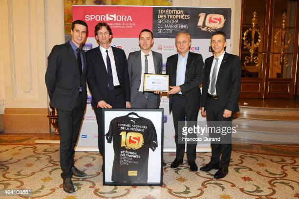Olympic athlete Tony Estanguet Bertrand Cizeau Sebastien Guiadere Olivier Dulac and Philippe Blatter pose for a photo as they attend the 'Trophees...