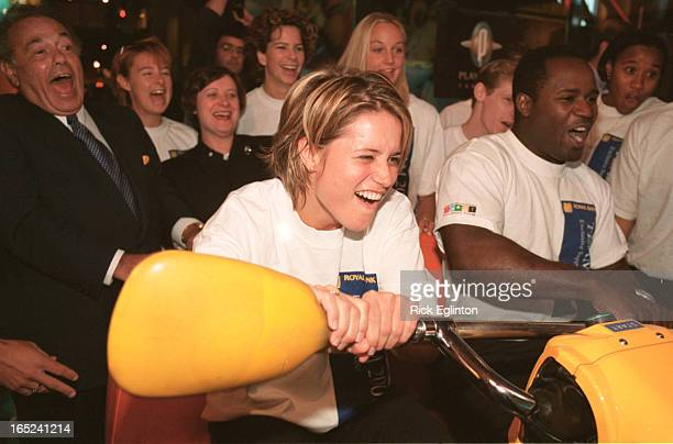 1 Olympic athletes Anne Montminy L and Curtis Hibbert get into a little friendly competition in a White Water simulator at Toronto's Plajdium on John...