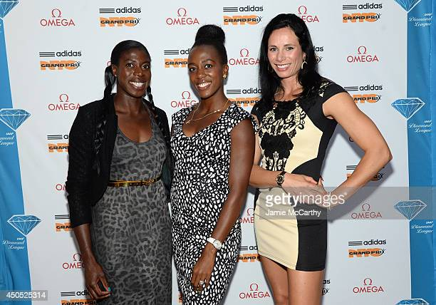 Olympic athletes Christine Ohuruogu Tiffany Porter and Jenn Suhr attend the adidas Grand Prix celebration hosted by OMEGA at the OMEGA Fifth Avenue...