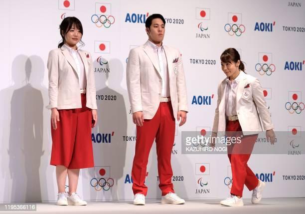 Olympic athletes, equestrian Akane Kuroki, swimmer Daiya Seto, and weightlifter Hiromi Miyake, attend a press conferece to announce Japan national...