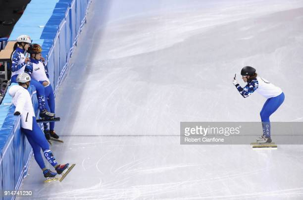 Olympic Athletes from Russia take photos during Short Track Speed Skating practice ahead of the PyeongChang 2018 Winter Olympic Games at Gangneung...