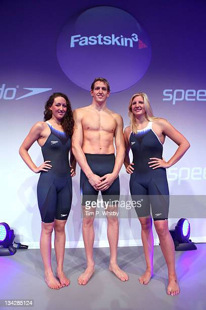Olympic athletes Georgia Hohmann Adam brown and Rebecca Adlington pose for a picture during the Speedo Fashion Show and Fastskin3 Racing System...
