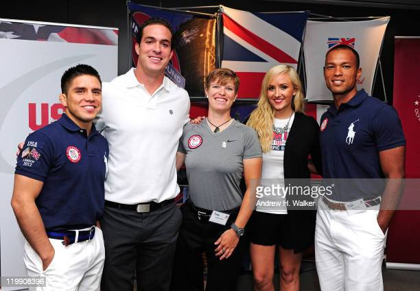 USA Olympic athletes Henry Cejudo Jeremy Campbell Allison Jones Nastia Liukin and Bryan Clay attend the Team USA Britain Bound party at Alice Tully...