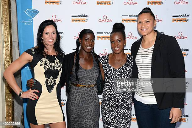 Olympic athletes Jenn Suhr Christine Ohuruogu Tiffany Porter and Valerie Adams attend the adidas Grand Prix celebration hosted by OMEGA at the OMEGA...